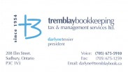 Tremblay Bookkeeping Tax Management Services Limited in Sudbury Ontario Darlyne Tessier Business Card