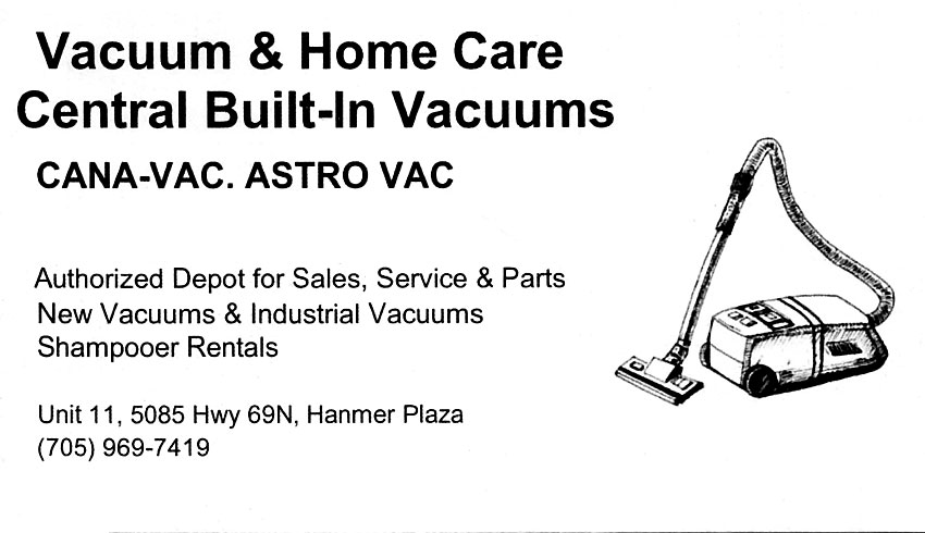 Vacuum & Home Care Central Built In Vacuums in The Hanmer Valley Shopping Centre Greater Sudbury Ontario Business Card