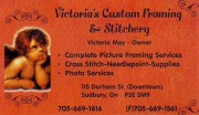 Victoria's Custom Framing & Stitchery in Sudbury Ontario Picture Frame Dealers and Picture Framing Victoria May Owner