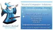 Wizard Computer Solutions Repair & Cleaning and Printer Inks in Sudbury Ontario Business Card